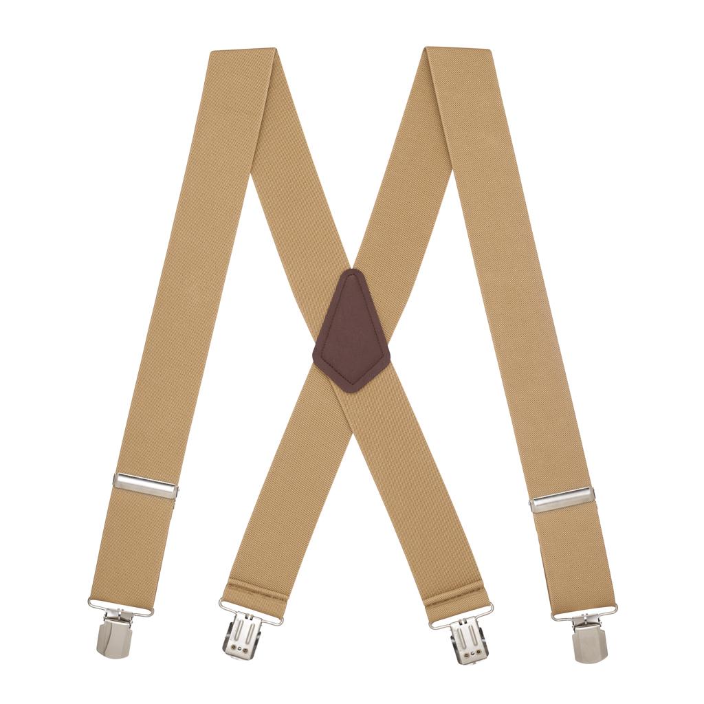 2 Inch Wide Pin Clip Suspenders - TAN Full View