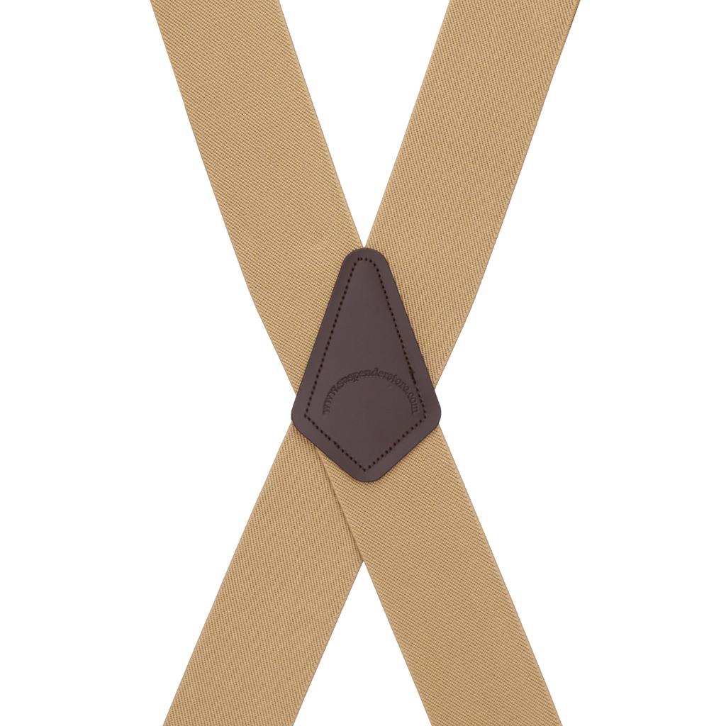 2 Inch Wide Pin Clip Suspenders - TAN Rear View