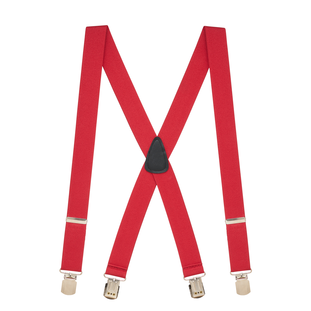 Full View - 1.5 Inch Wide Pin Clip Suspenders - RED
