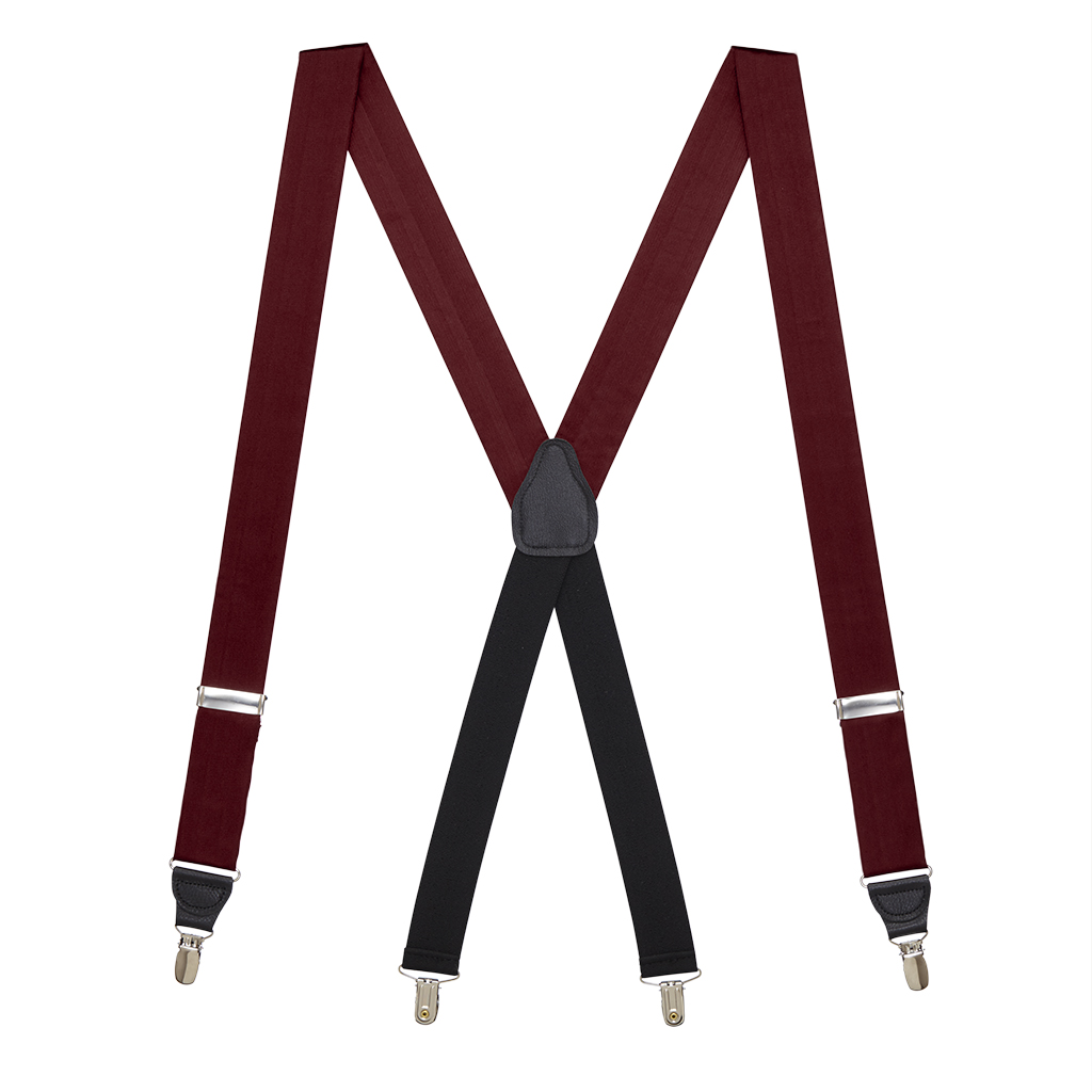 Full View - Bangkok Silk Suspenders - Drop Clip - Burgundy