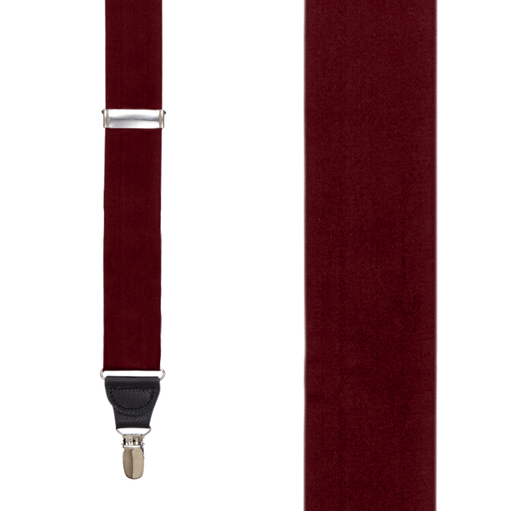 Front View - Bangkok Silk Suspenders - Drop Clip - Burgundy