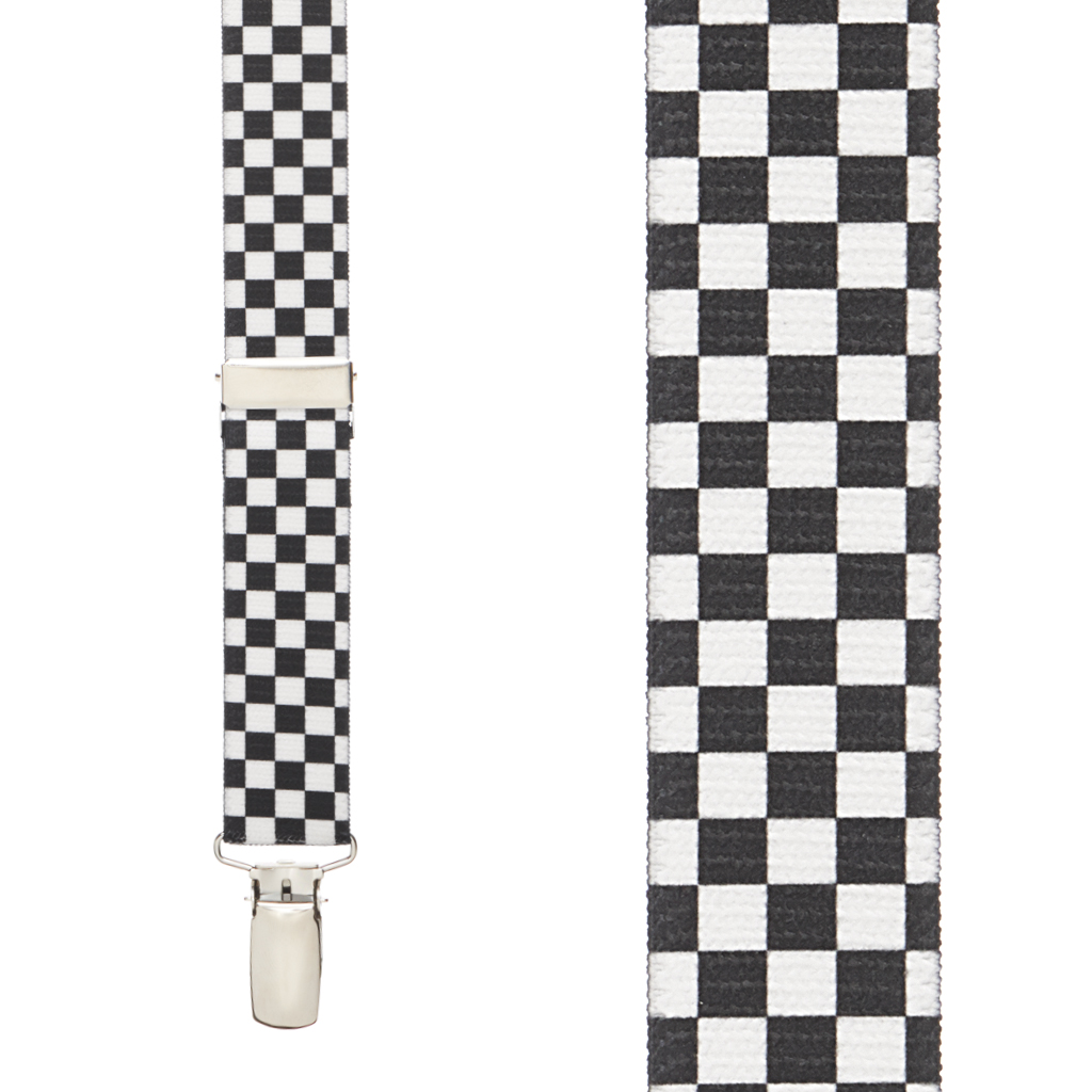 Black & White Checkered Suspenders - Front View