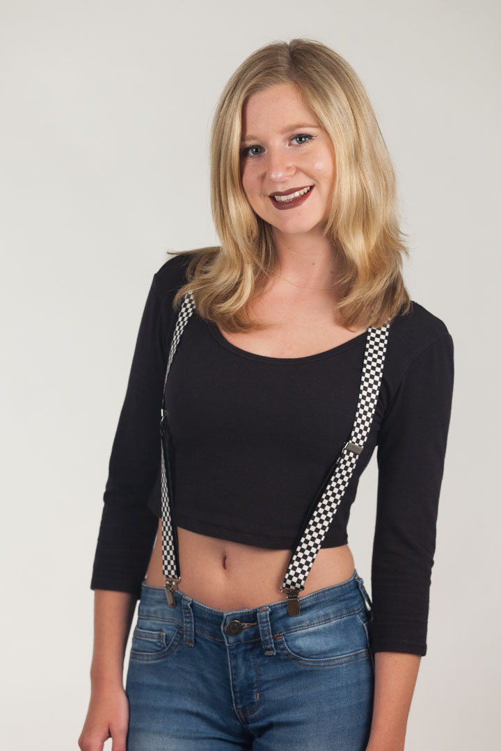 Black /& White Checkered Suspenders 1 Inch Y-Back