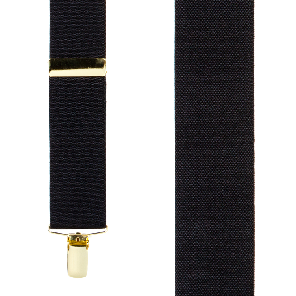 Black Brass Clip Suspenders - 1.5 Inch Wide - Front View