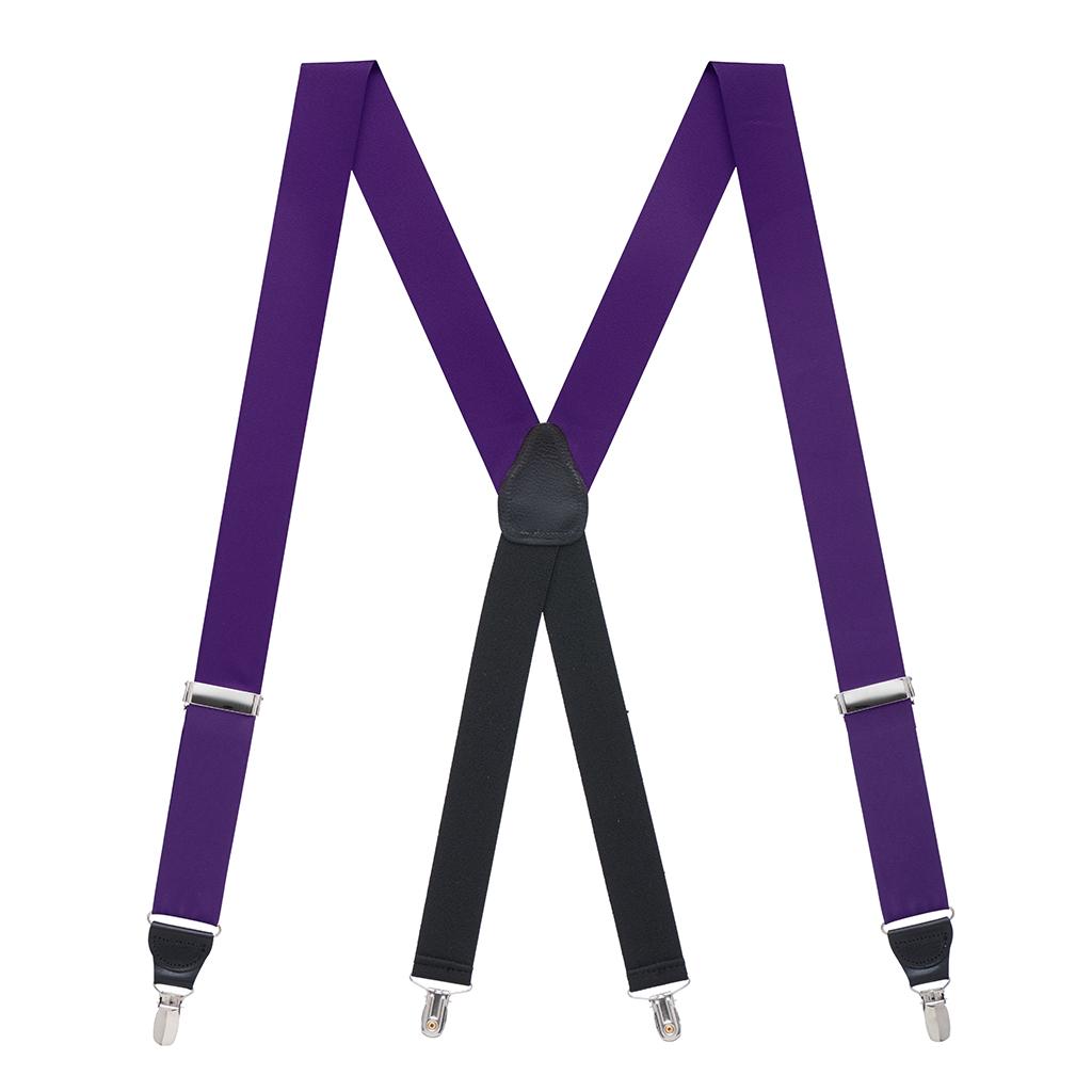 Grosgrain Clip Suspenders in Dark Purple - Full View