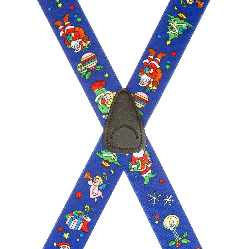 Santa Suspenders in Blue - Rear View