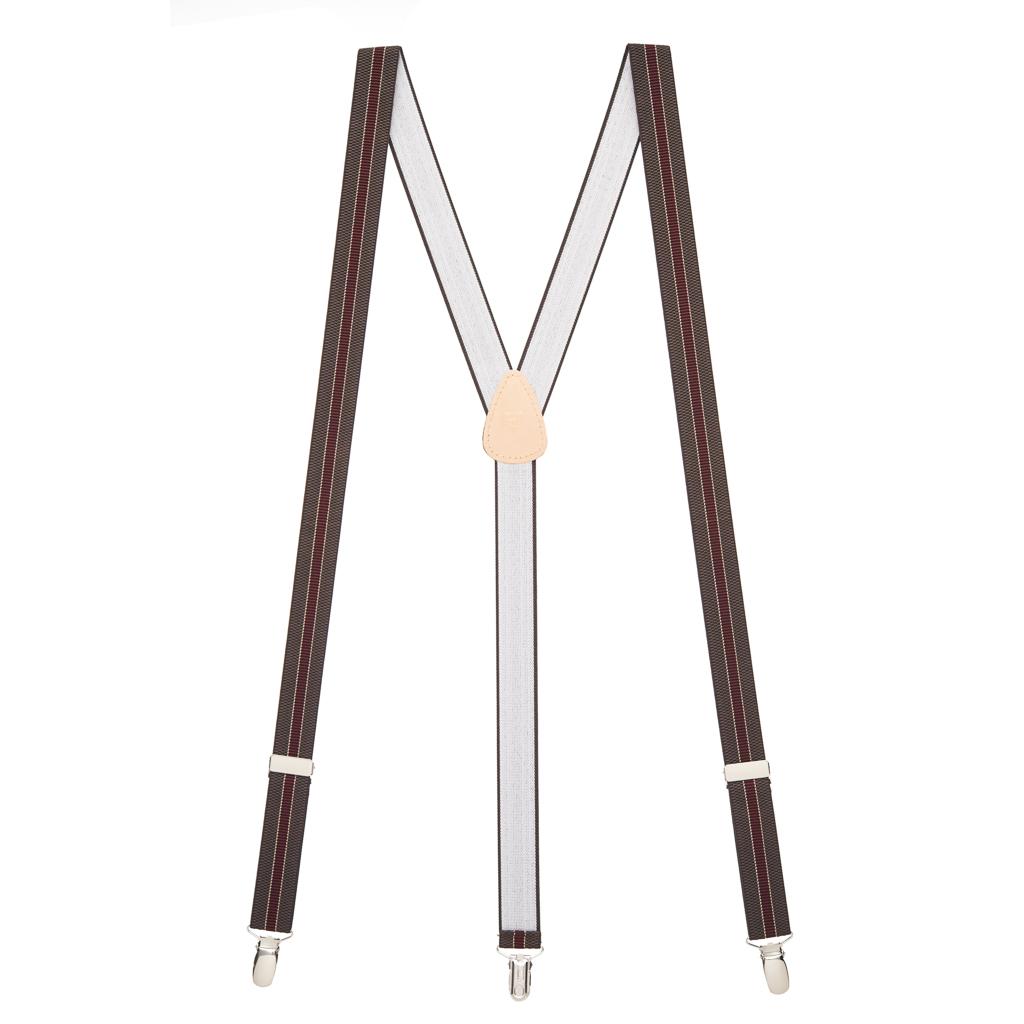 Striped Suspenders in Brown & Burgundy - Full View