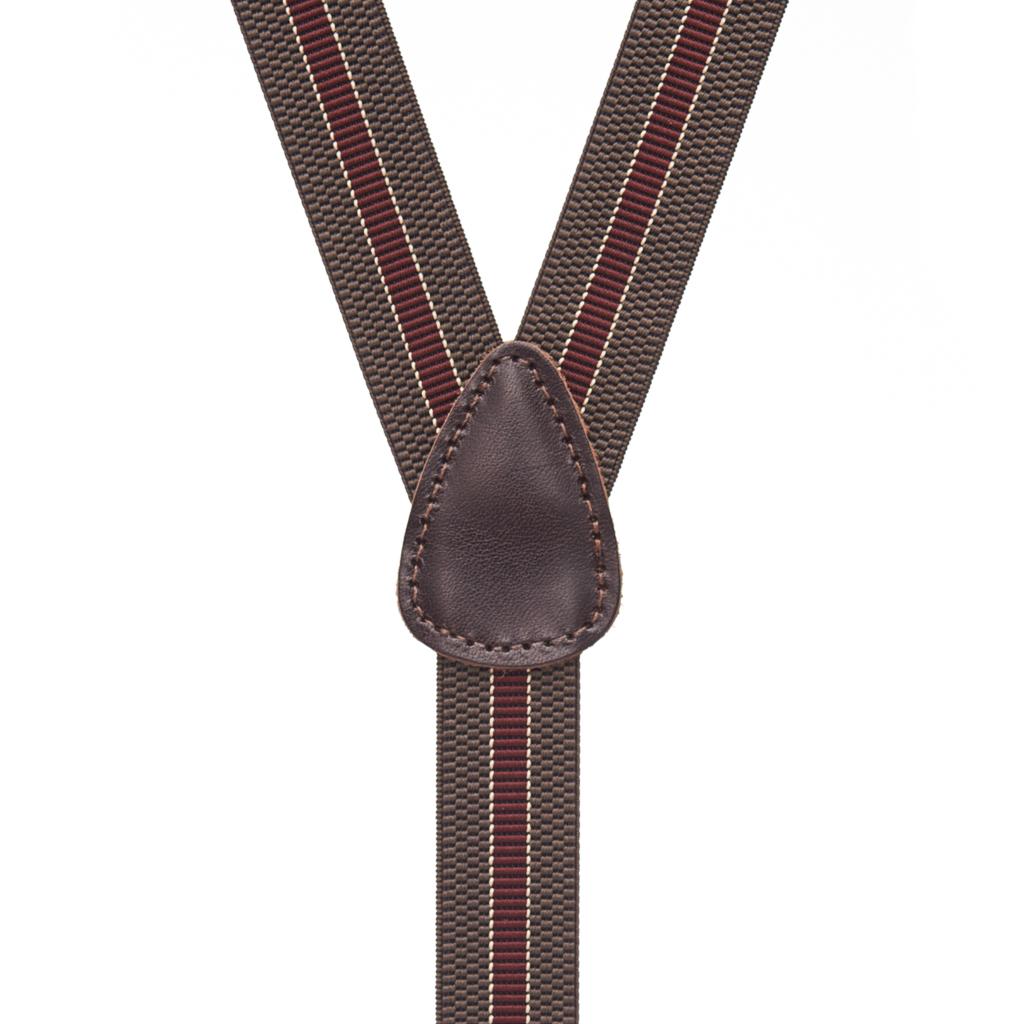 Striped Suspenders in Brown & Burgundy - Rear View