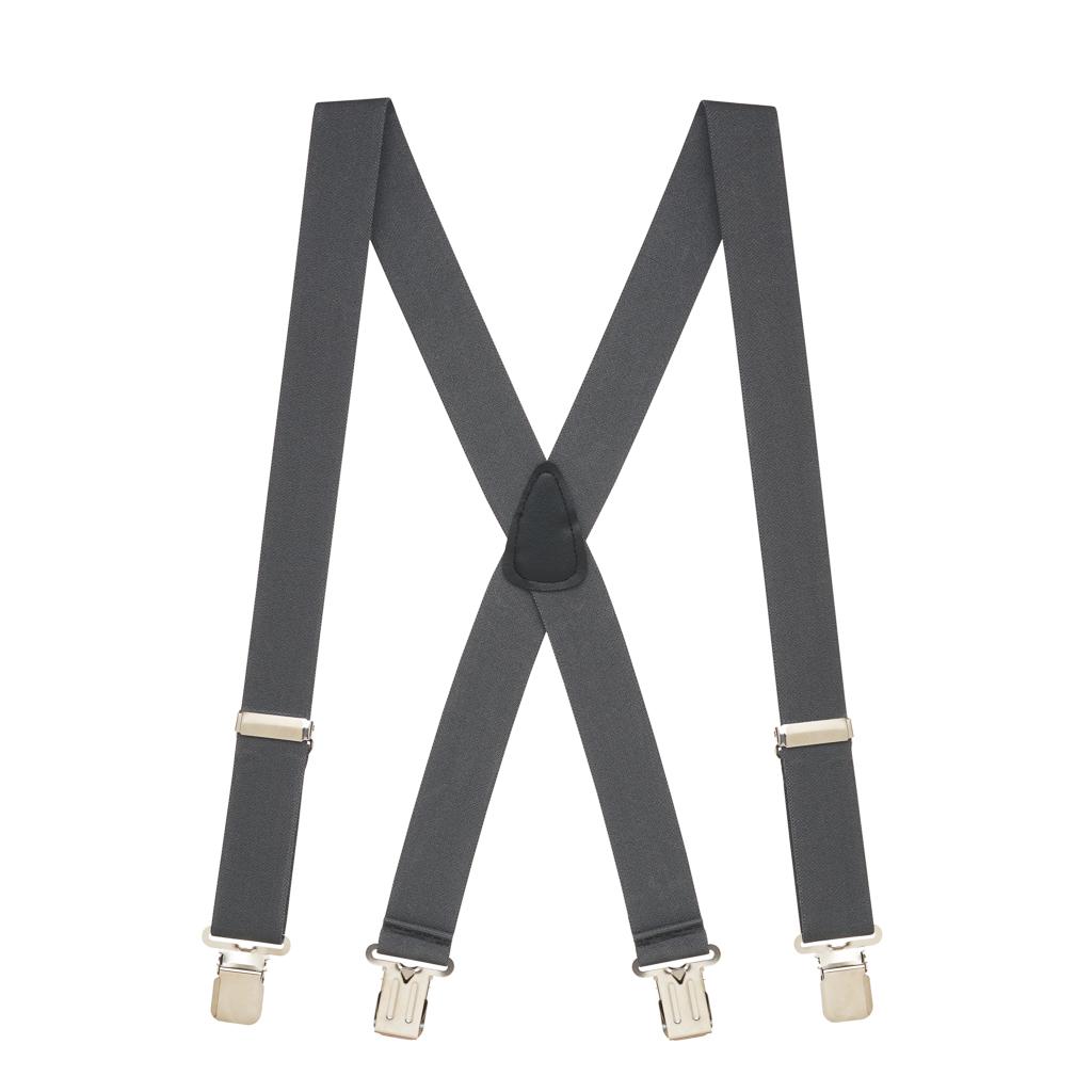 Full View - 1.5 Inch Wide Construction Clip Suspenders - DARK GREY
