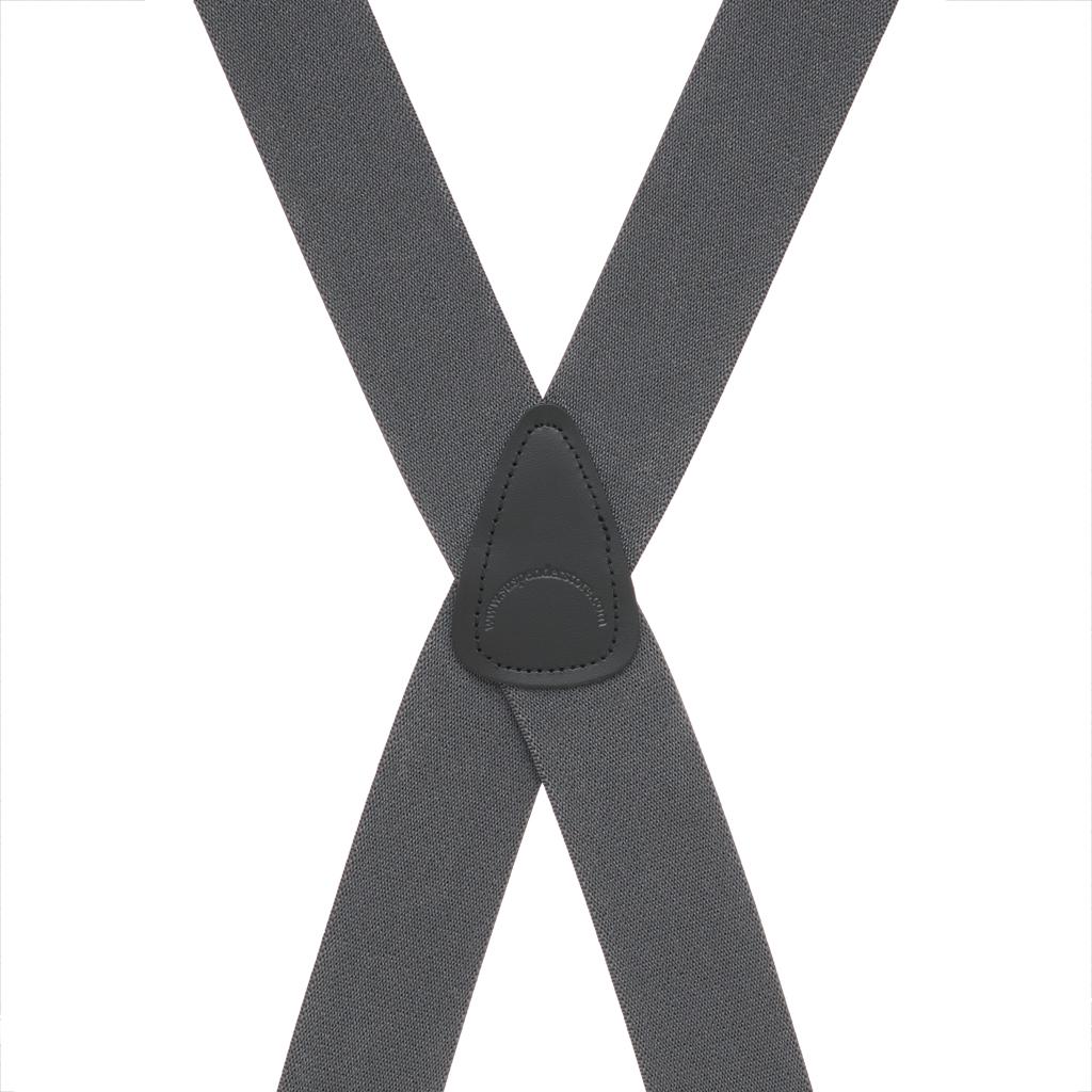 Rear View - 1.5 Inch Wide Construction Clip Suspenders - DARK GREY