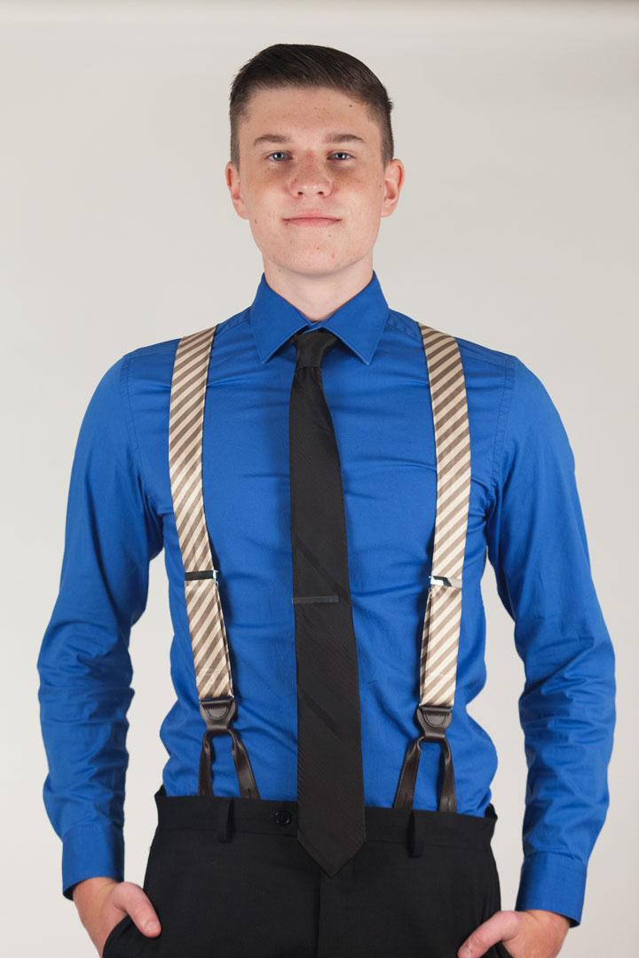 Model Wearing Silk Diagonal Stripe Suspenders - Button Front View