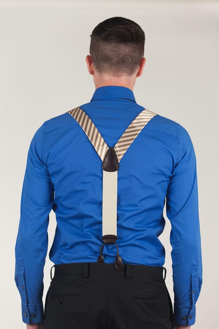 Model Wearing Silk Diagonal Stripe Suspenders - Button Rear View