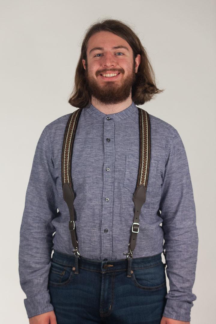 Model Wearing Horsehair Suspenders Front View