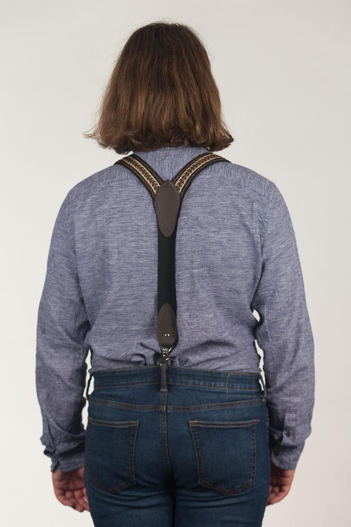 Model Wearing Horsehair Suspenders Rear View