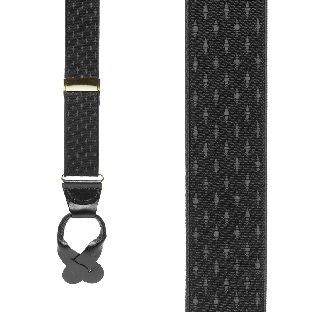 Black Jacquard Suspenders - Front View