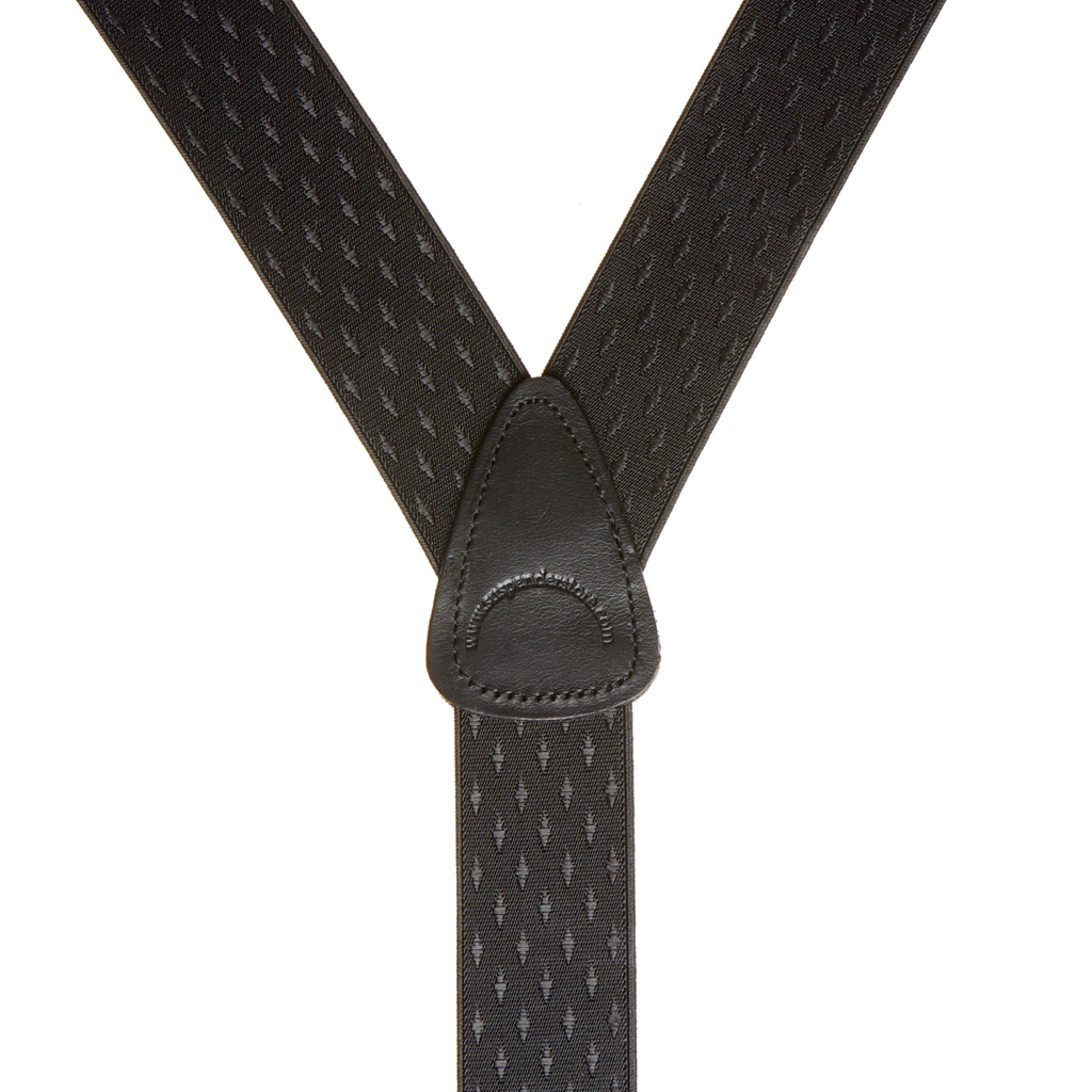 Black Jacquard Suspenders - Rear View