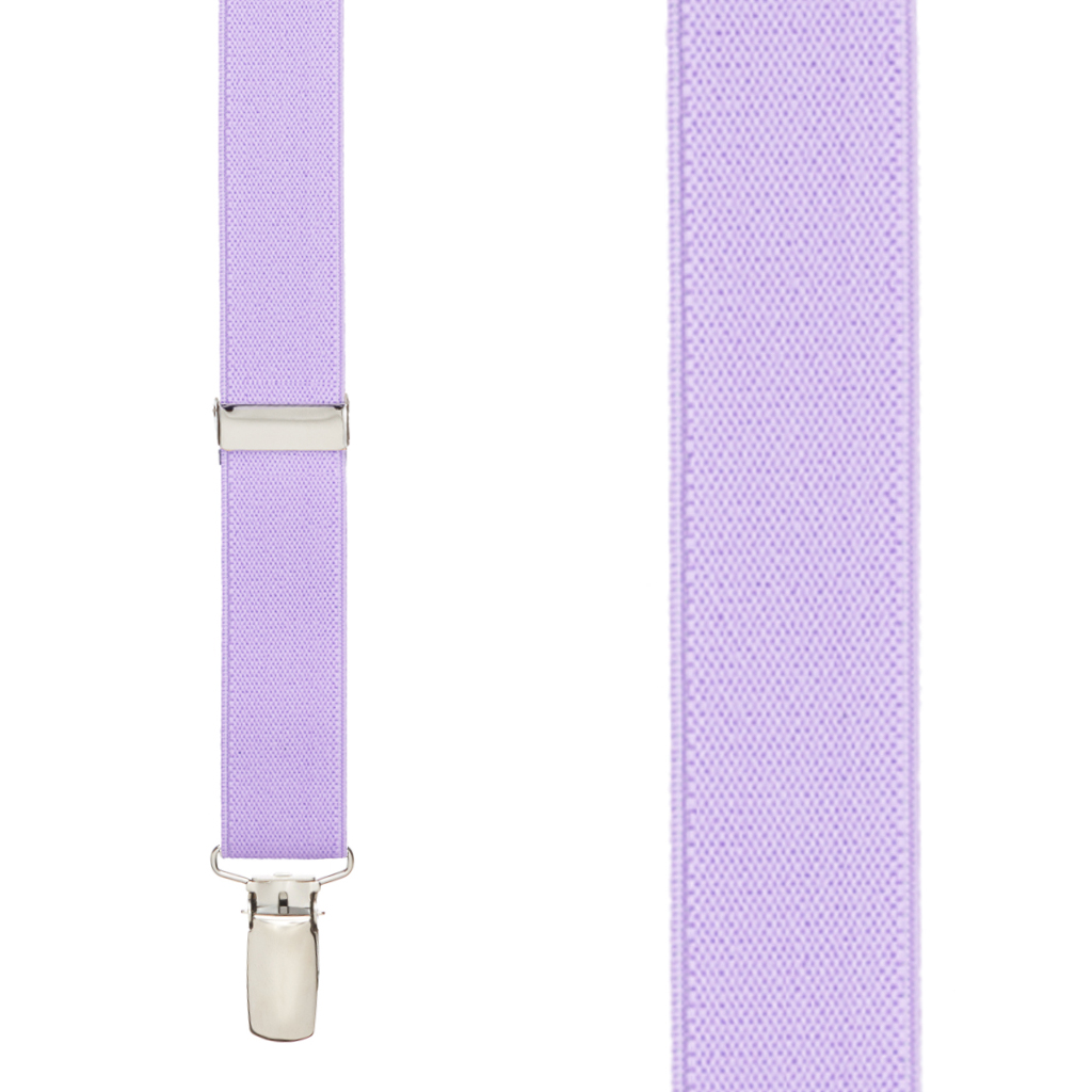 1-Inch Wide Finger Clip Suspenders in Lavender - Front View