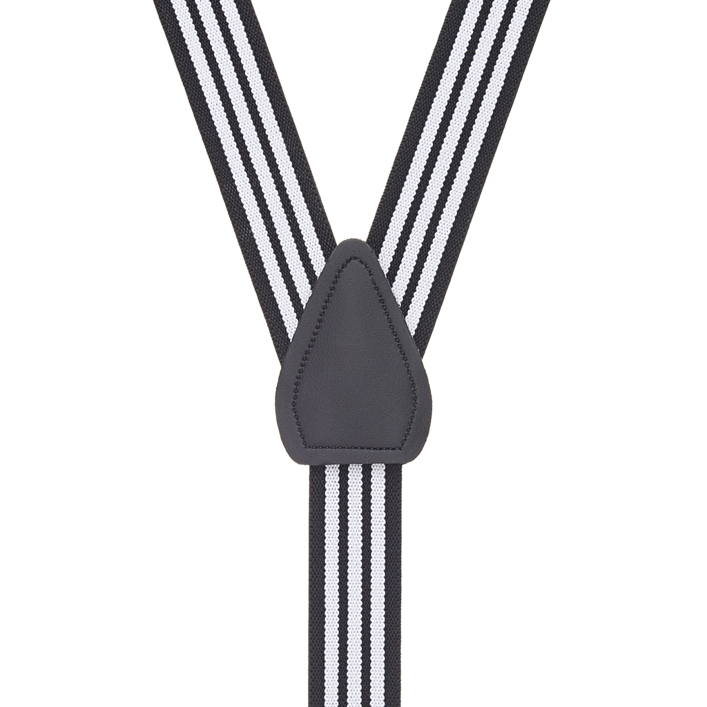 Black & White Striped Suspenders for Kids - Rear View