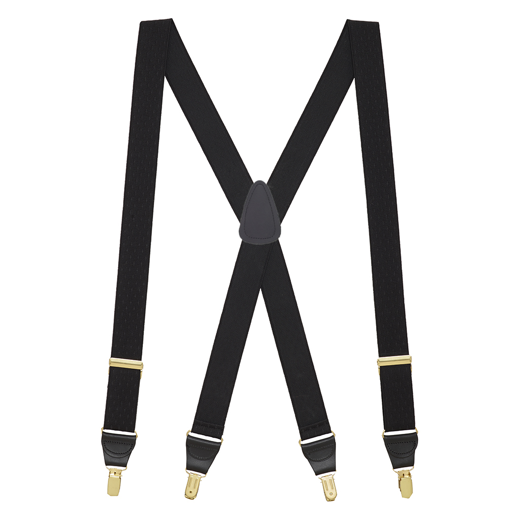 Black Jacquard Suspenders - Full View