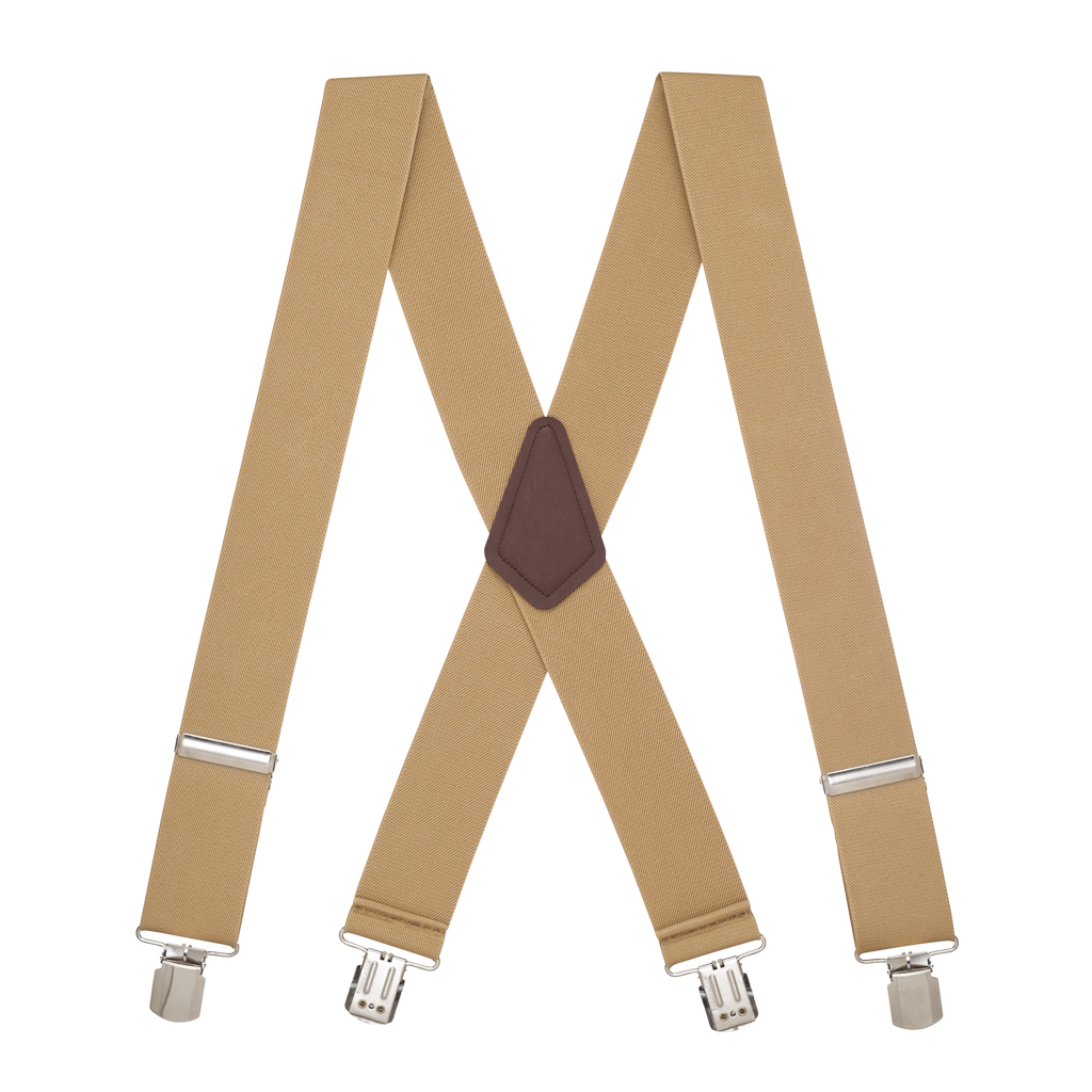 Pin Clip Suspenders in Tan - Full View