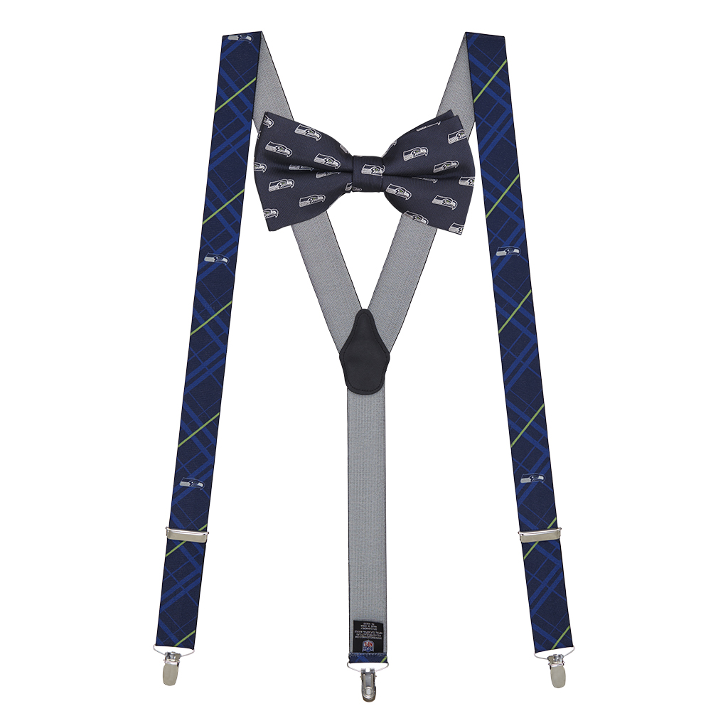 Seattle Seahawks Bow Tie & Suspenders Set - Full View