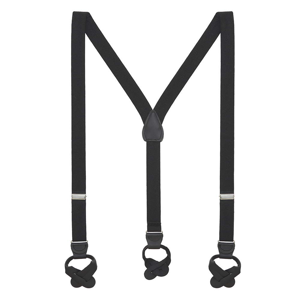 1 Inch Wide Button Suspenders - BLACK