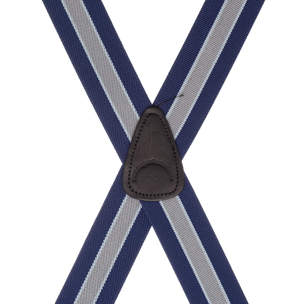 1.5 Inch Wide Clip Suspenders in Navy/Grey Stripe - Rear View