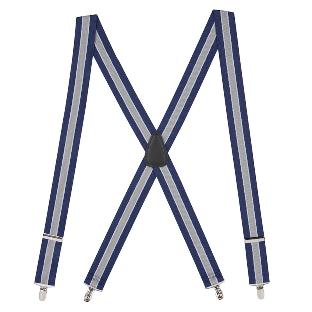 1.5 Inch Wide Clip Suspenders in Navy/Grey Stripe - Full View