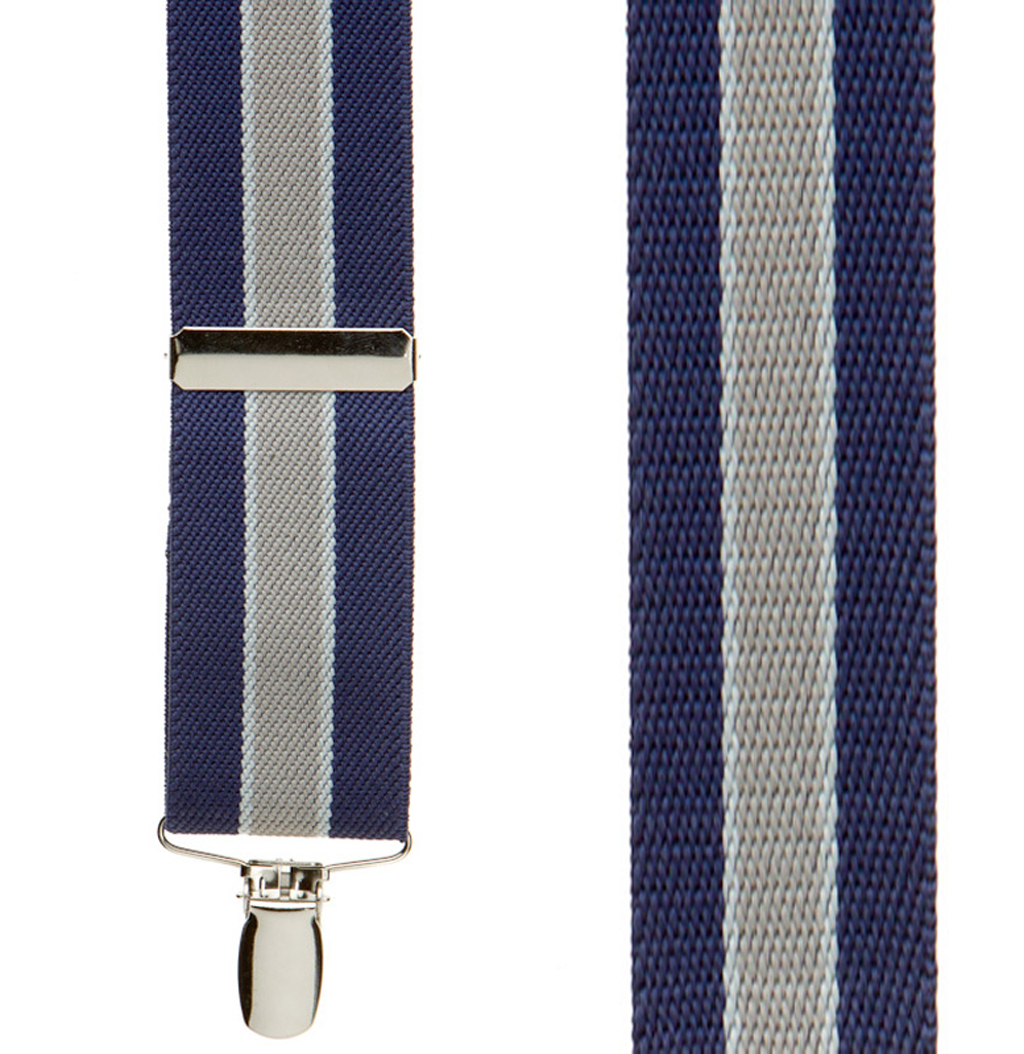 1.5 Inch Wide Clip Suspenders in Navy/Grey Stripe - Front View