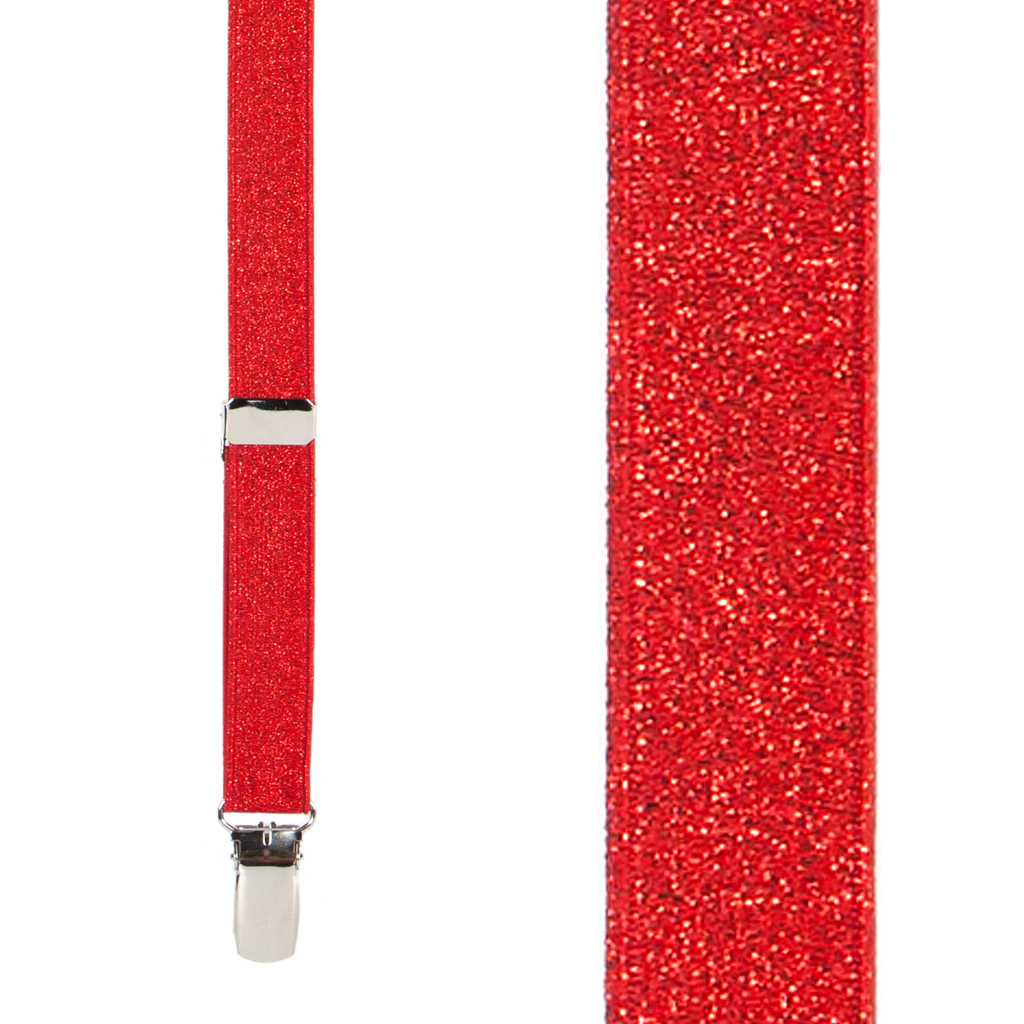 Glitter Suspenders in Red - Front View