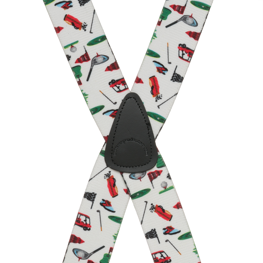 Golf Suspenders in White - Rear View