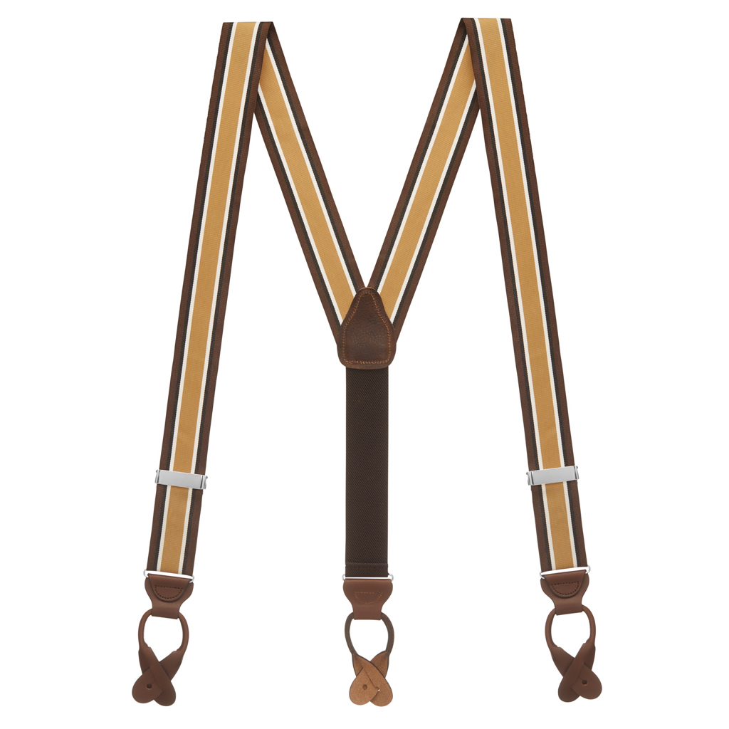 Grosgrain Button Suspenders - Brown Stripe Full View