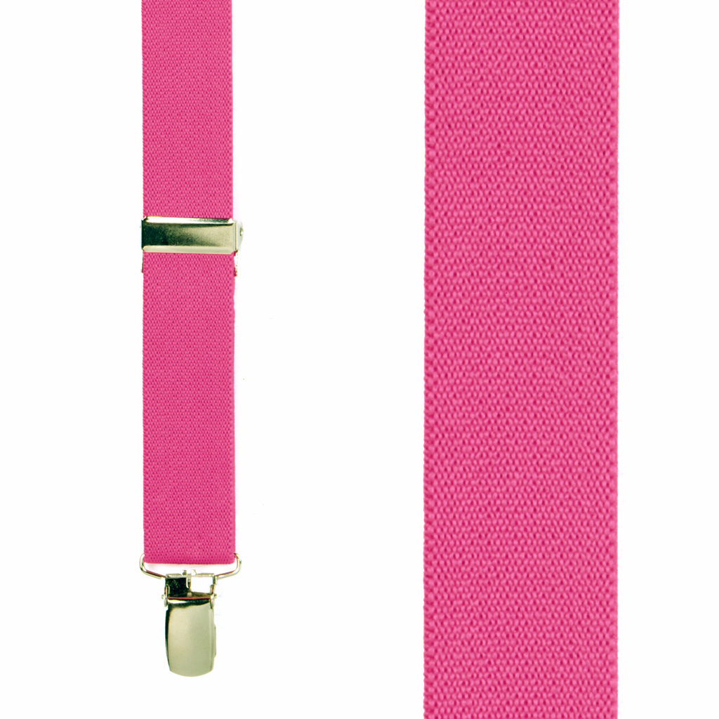 1 Inch Wide Clip X-Back Suspenders in Dark Pink - Front View