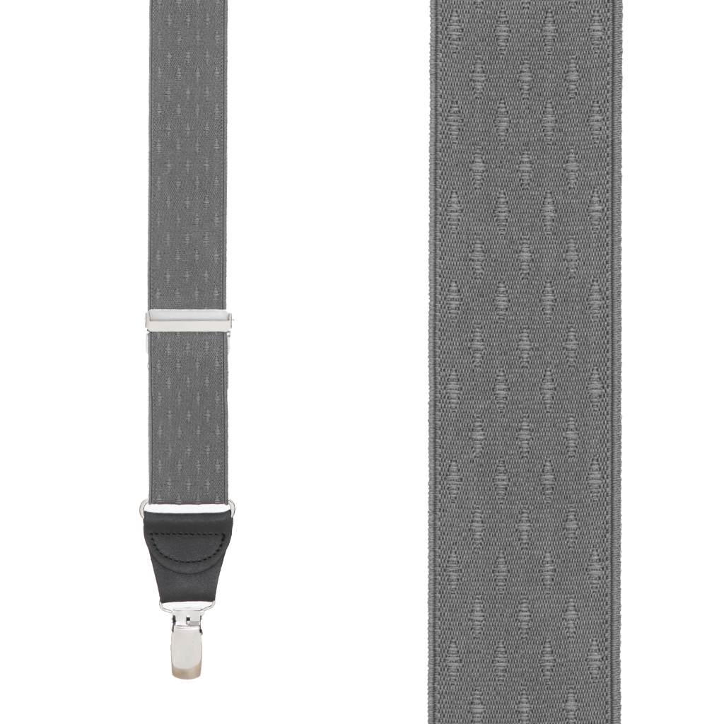 Grey Jacquard  Suspenders - Petite Diamond Clip Front View