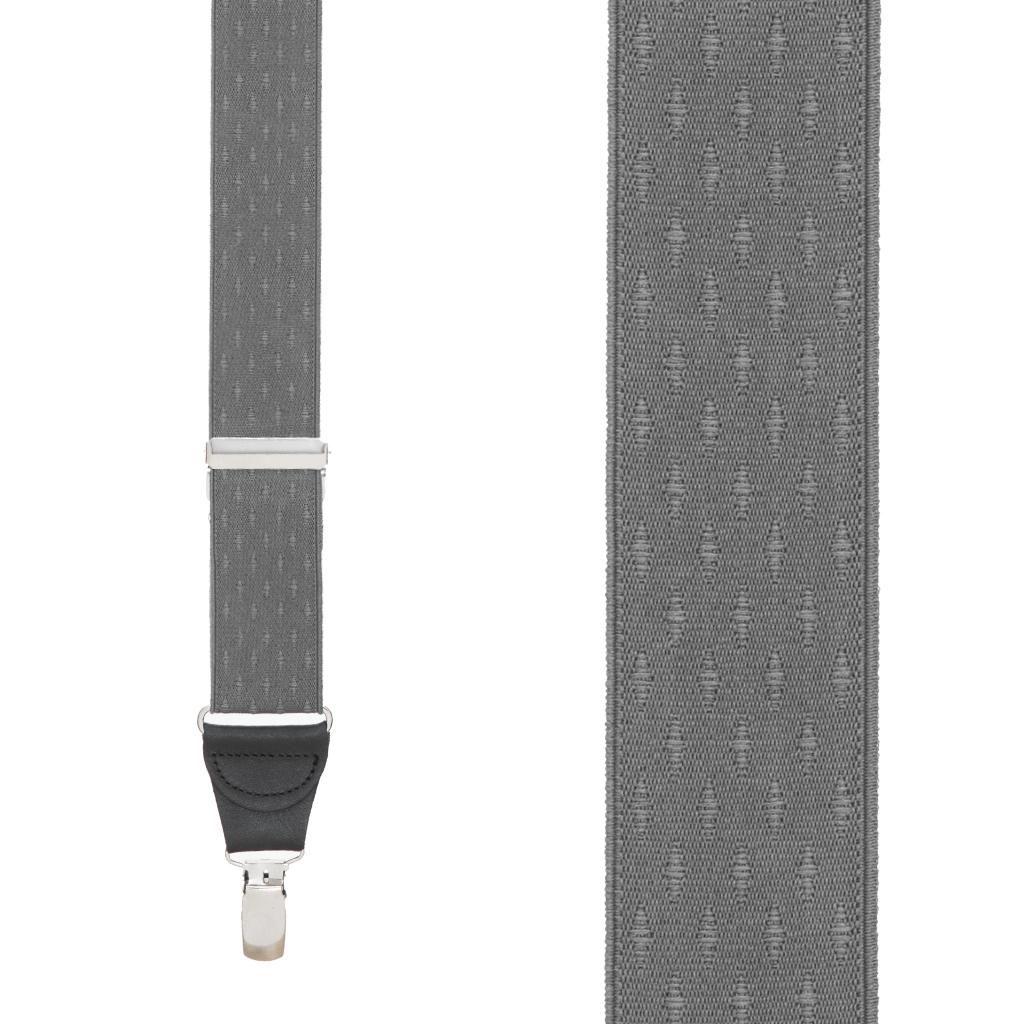 Grey Jacquard  Suspenders - Petite Diamond Clip Front View