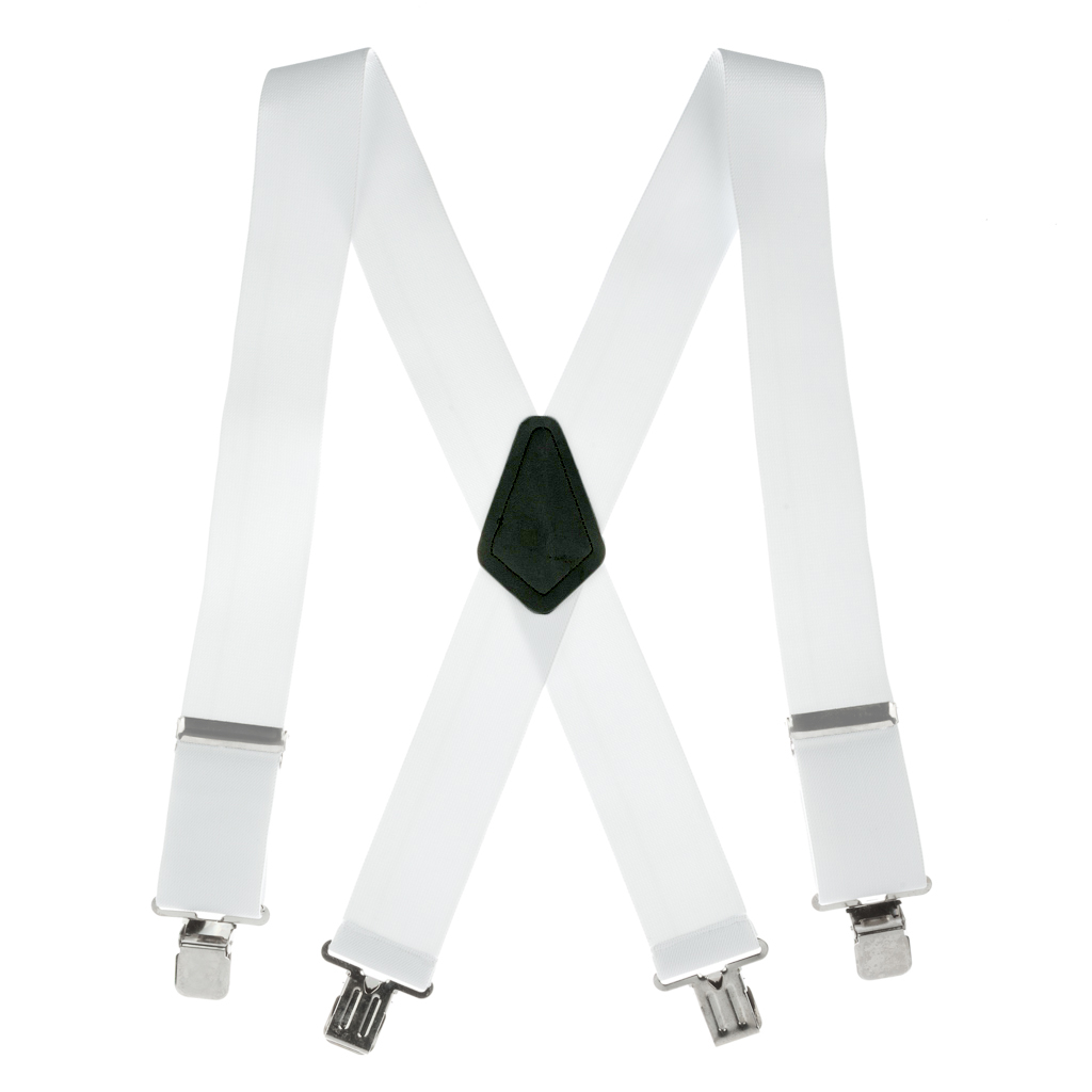 42-inch, 54-inch & 60-inch Classic Suspenders - Full View - White with Black Crosspatch