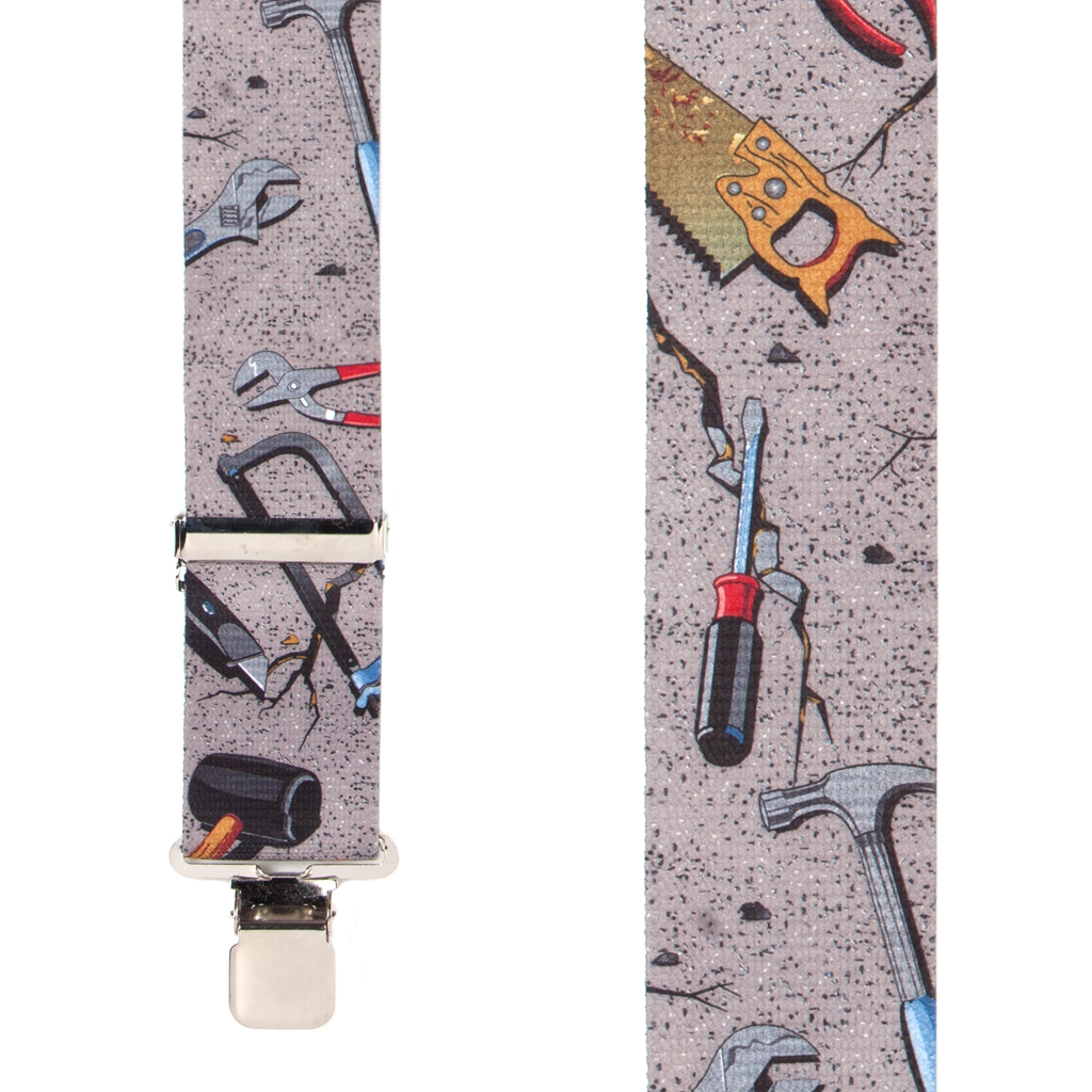 Hand Tools on Grey Suspenders - Front View