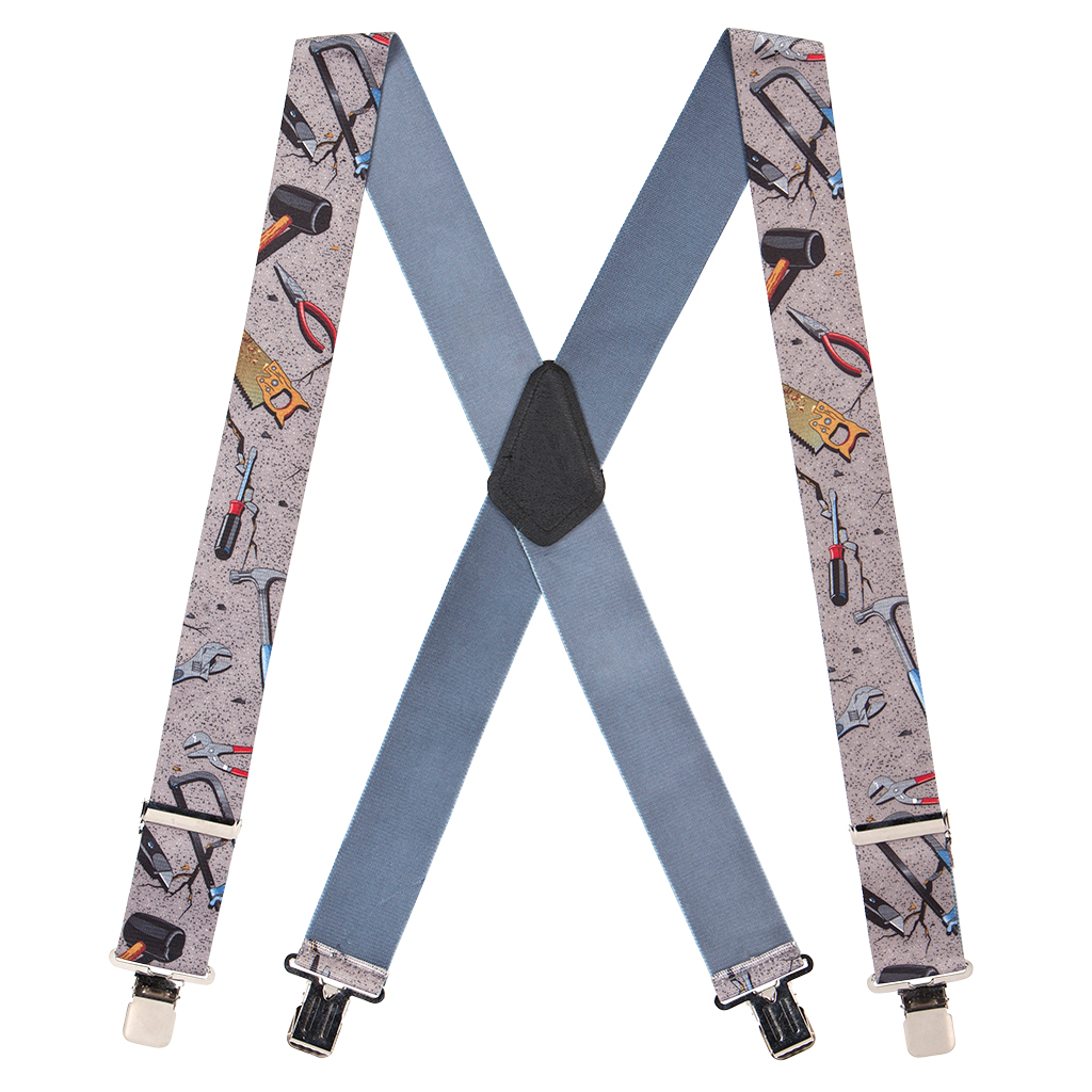 Hand Tools on Grey Suspenders - Full View
