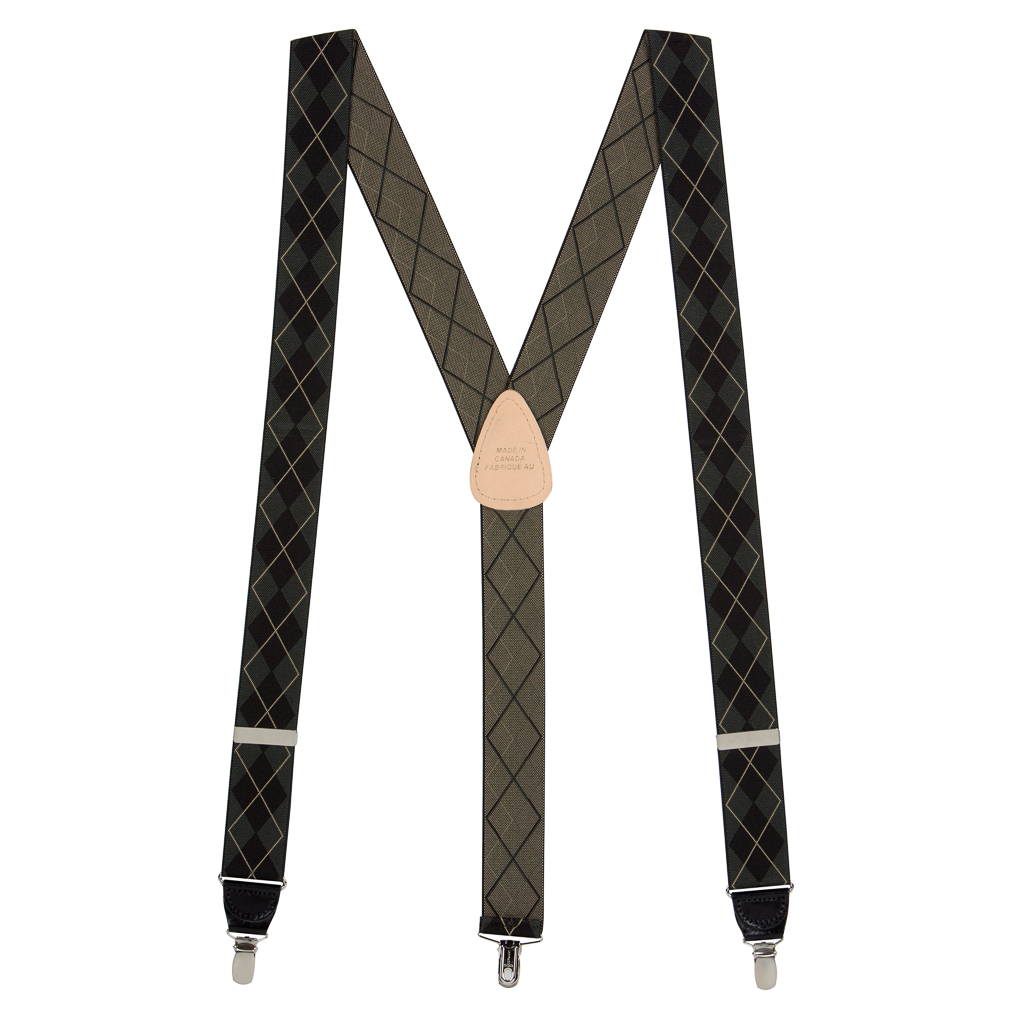 Argyle Suspenders in Olive Green - Full View