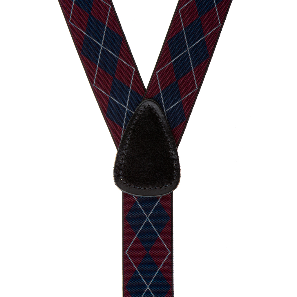 Argyle Button Suspenders in Burgundy - Rear View