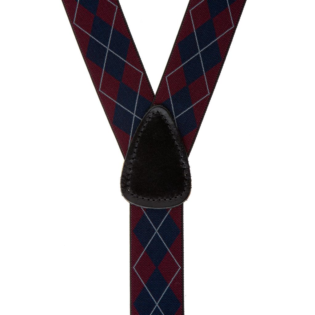 Argyle Button Suspenders in Burgundy - Rear View
