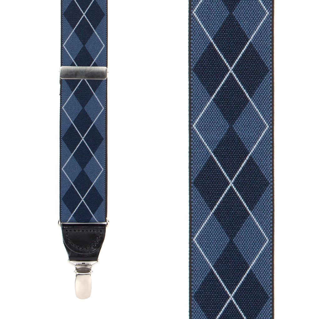 Front View - Argyle Clip Suspenders - Navy Blue