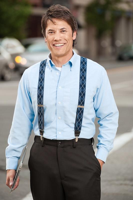 Blue Argyle Suspenders - 1.38 Inch Wide Clip