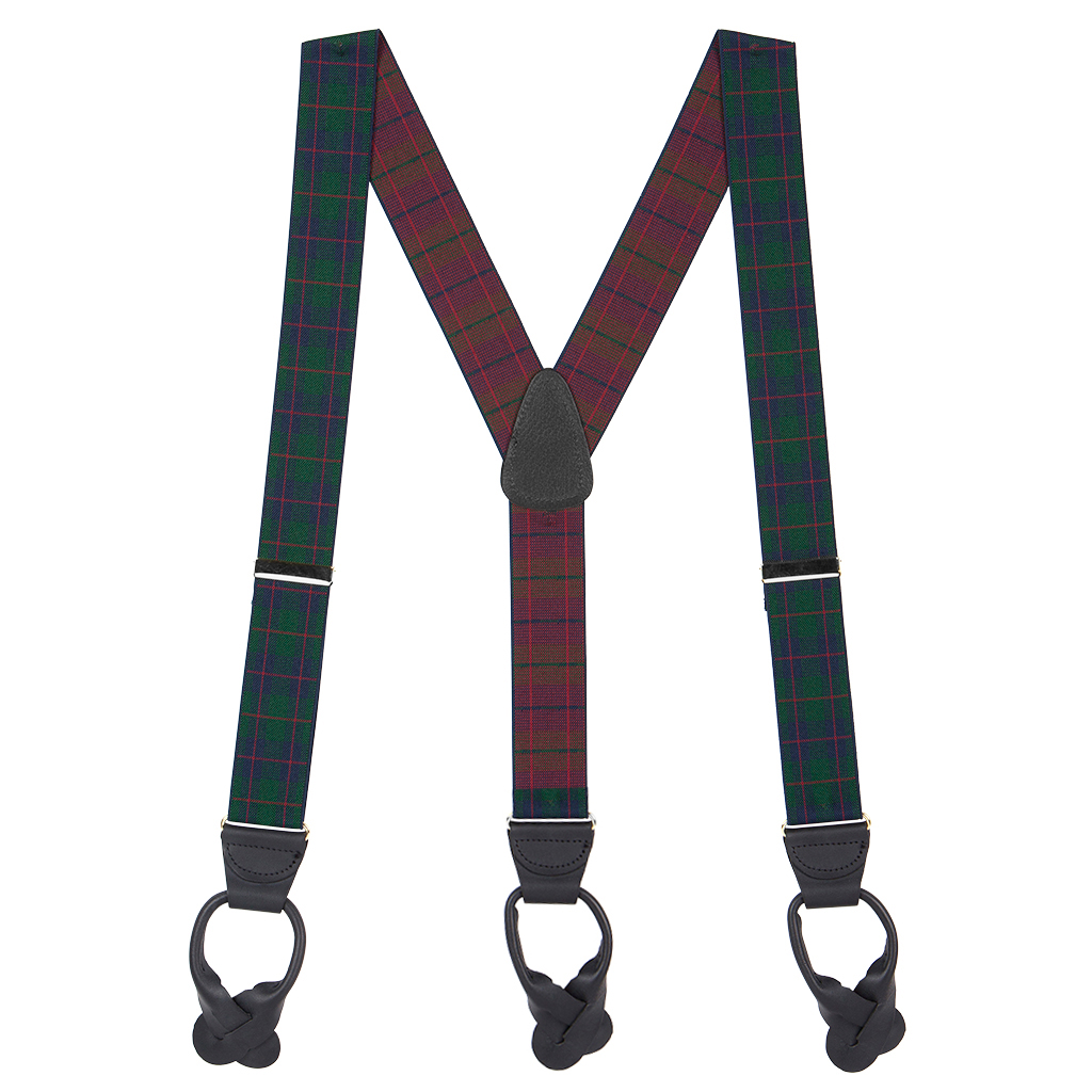 1.5 Inch Wide Plaid Button Suspenders in Green - Full View