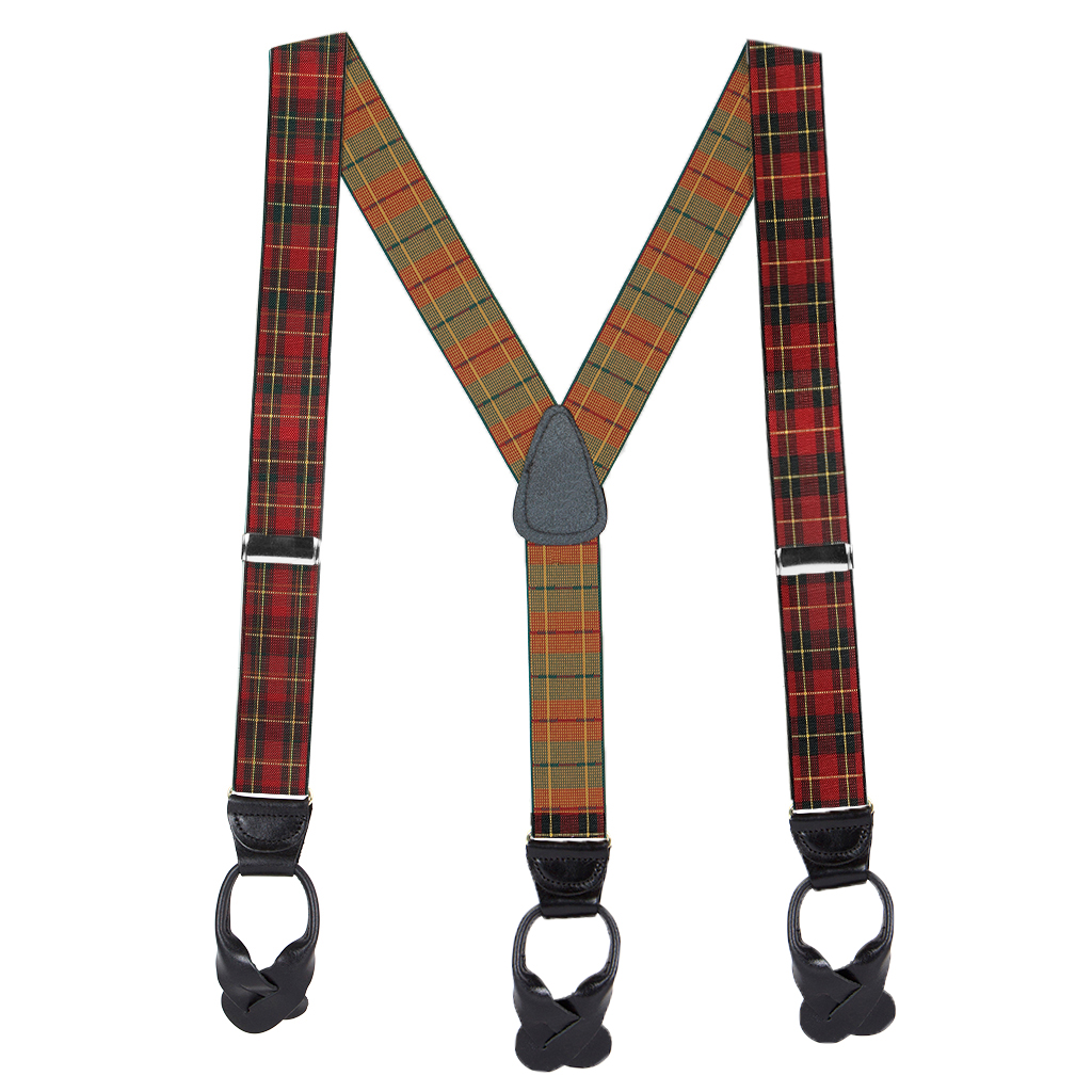 1.5 Inch Wide Plaid Button Suspenders in Red - Full View