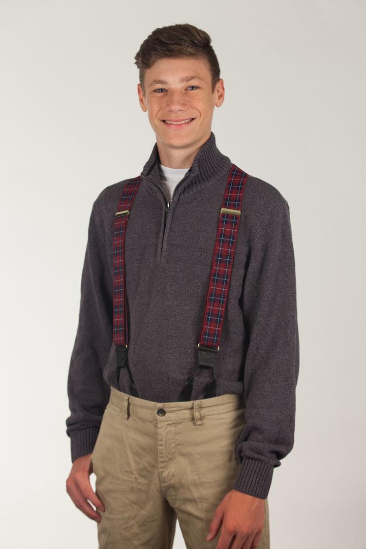 Plaid Button Suspenders