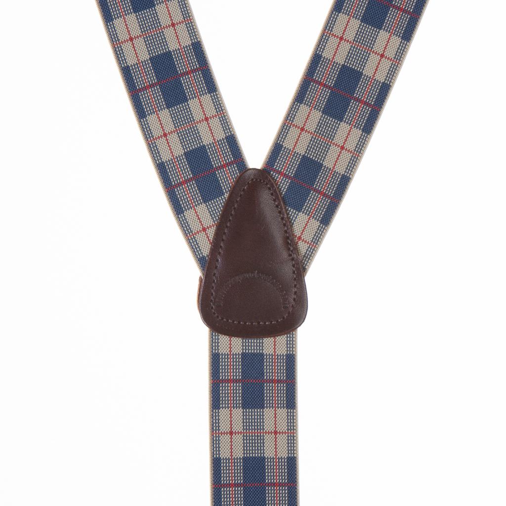 Beige Plaid Suspenders - 1.5 Inch Wide Button
