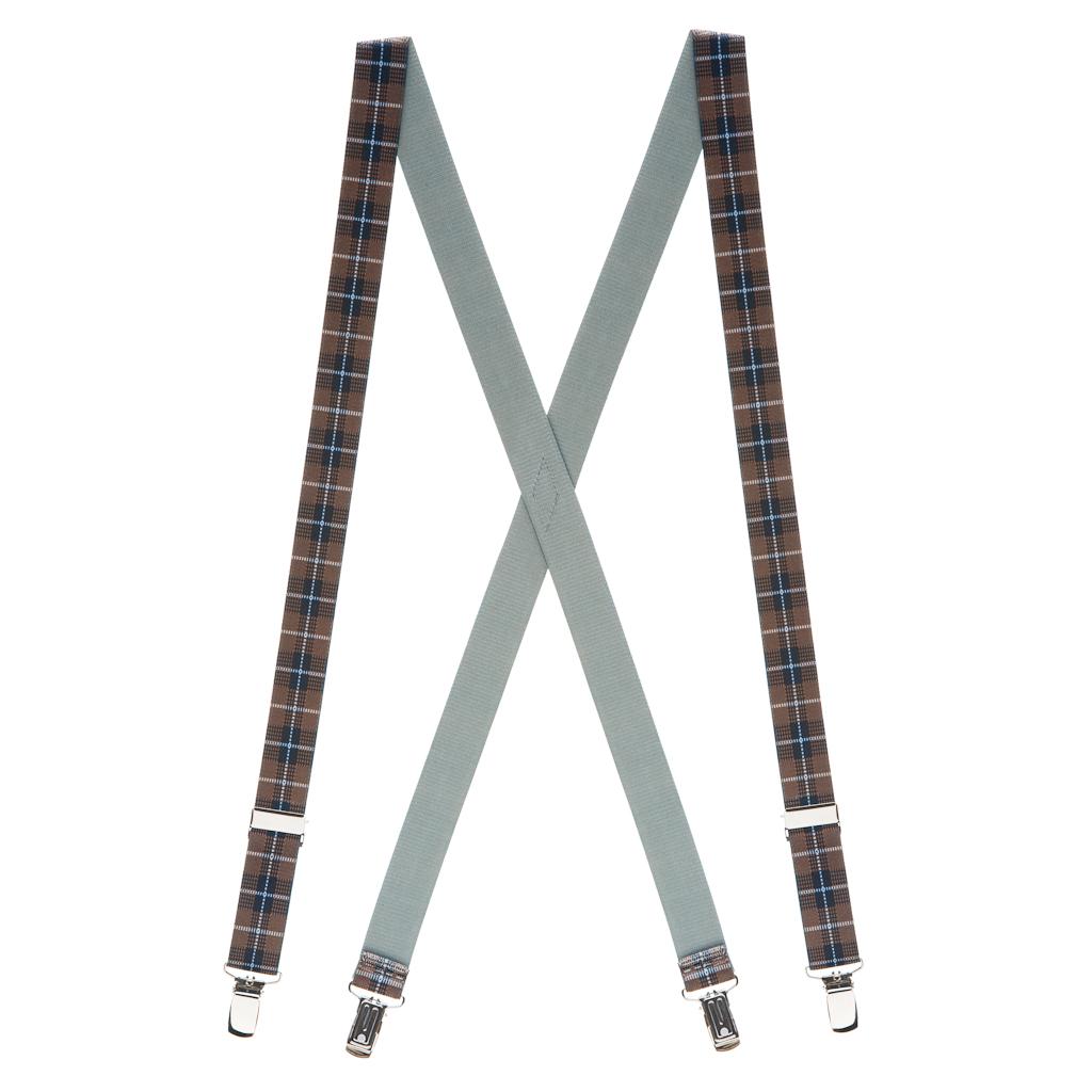 Plaid Suspenders in Brown - Full View