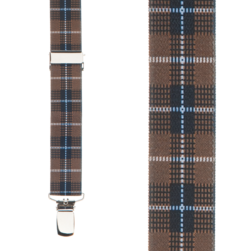 Plaid Suspenders in Brown - Front View