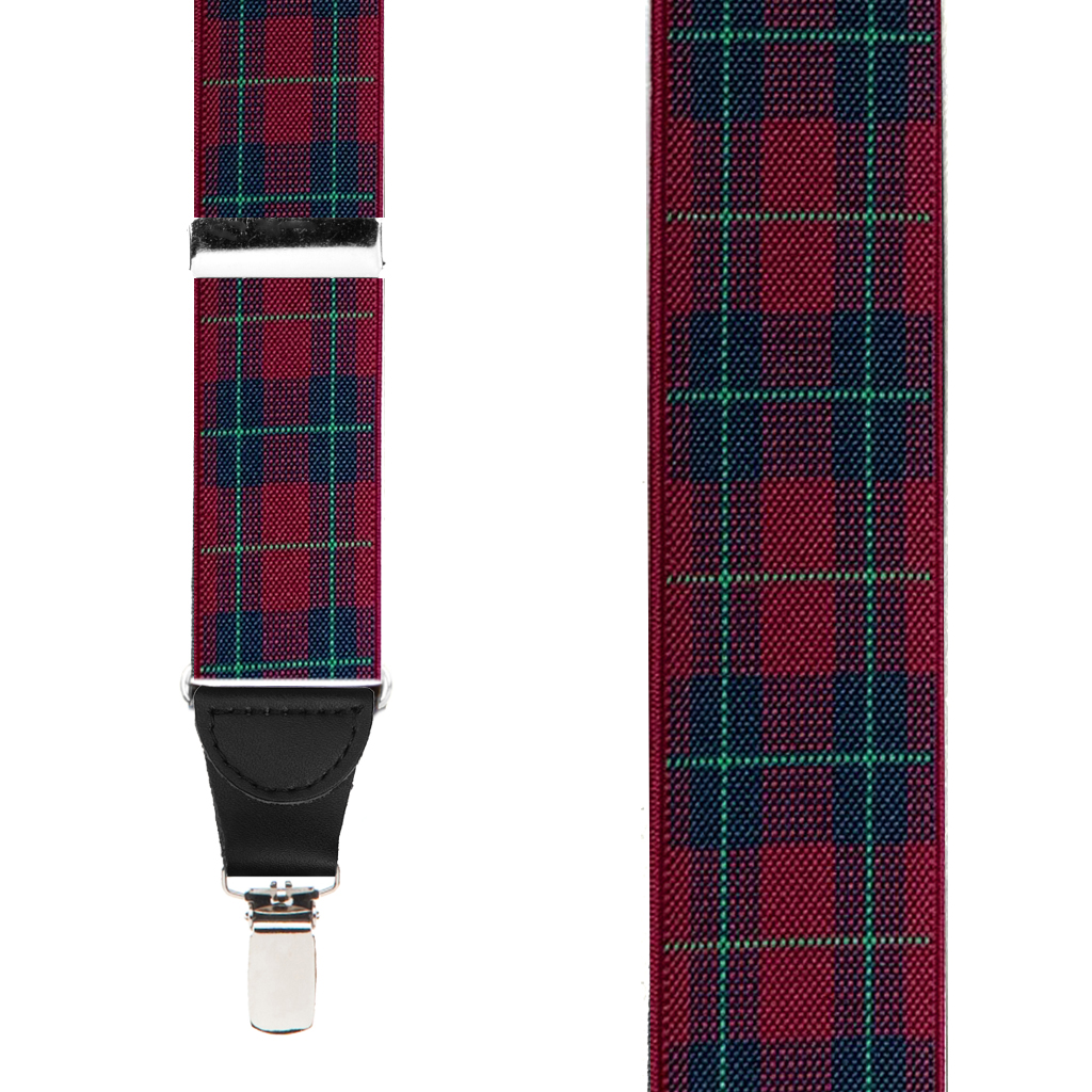1.5-Inch Wide Plaid Drop Clip Suspenders in Burgundy - Front View